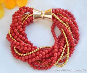 【送料無料】ブレスレット アクセサリ― ラウンドコーラルゴールドビーズブレスレットマグネットz5766 14row 8 4mm red round coral gold bead bracelet magnet