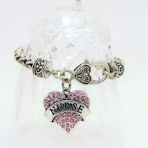 【送料無料】ブレスレット アクセサリ― ブレスレットピンクsilver plated nurse bracelet with heart charm pink swavoski crystals 75