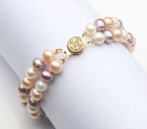 【送料無料】ブレスレット アクセサリ― パールブレスレットkゴールドクラスプ2 row aaa 89mm south sea multicolor pearl bracelet 14k gold clasp 758
