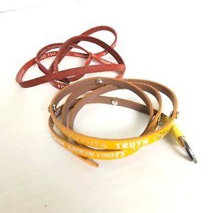 【送料無料】ブレスレット アクセサリ― プラントレザーカフブレスレットチェーンgood works lot of 2 make a difference plant peace leather cuff bracelet chain