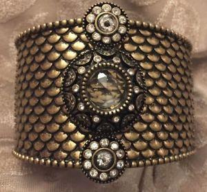 【送料無料】ブレスレット アクセサリ― ソフィアブロンズビーズクリスタルヒンジカフブレスレットnwt lia sophia bronze beaded crystal wide chunky hinged cuff statement bracelet