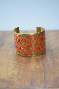 【送料無料】ブレスレット アクセサリ― ブレスレットオレンジカフbracelet brass orange woven brass large cuff