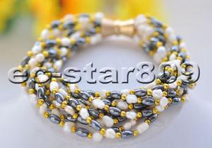【送料無料】ブレスレット アクセサリ― ホワイトバロックヘマタイトブレスレットマグネットp6992 10row 8 white baroque freshwater pearl hematite bracelet magnet