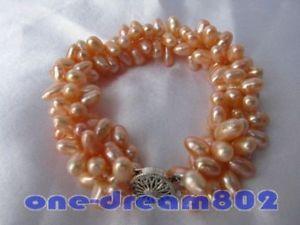 【送料無料】ブレスレット アクセサリ― コメピンクブレスレット3row8 5x10mm rice pink freshwater pearl bracelet