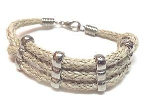 【送料無料】ブレスレット アクセサリ― ハンドメイドトリプルコードロープブレスレットhandmade silvertone triple cord rope wrist bracelet 7 12 long