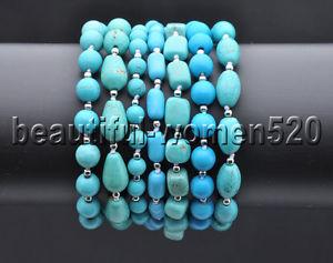 【送料無料】ブレスレット アクセサリ― ラウンドライスターコイズビーズブレスレットインチz8263 7strds 14mm blue green drip amp; round rice turquoise bead bracelet 8inch