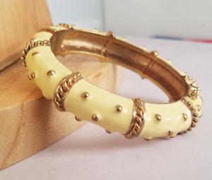 【送料無料】ブレスレット アクセサリ― ホワイトエナメルゴールドトーンロープドットクランパブレスレットtalbots white enamel amp; gold tone rope amp; dot metal magnetic clamper bracelet