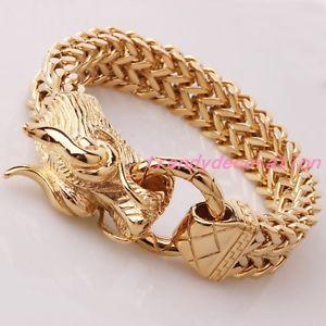 【送料無料】ブレスレット アクセサリ― パンクロールステンレススチールゴールドドラゴンフラットフィガロチェーンメンズブレスレットpunk roll stainless steel gold dragon flat figaro curb chain mens bracelet 866