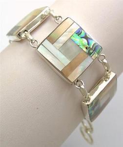 【送料無料】ブレスレット アクセサリ― アワビパールスターリングシルバーブレスレットシェルnatural abalone shell mother of pearl 925 sterling silver bracelet jewelry sf026