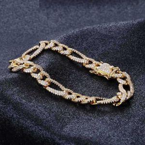 【送料無料】ブレスレット アクセサリ― ゴールドメッキフィガロチェーンリンクメンズヒップホップブレスレット18k gold plated cz iced out figaro chain link micropave mens hip hop bracelet