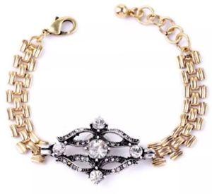 【送料無料】ブレスレット アクセサリ― オートクチュールデザイナークリスタルラインストーンゴールドシルバーアールデコブレスレットhaute couture designer chunky crystal rhinestone gold silver art deco bracelet