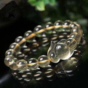 【送料無料】ブレスレット アクセサリ― aaaクオーツフォックスブレスレット10mmaaa natural citrine quartz fox crystal stretch beads bracelet 10mm