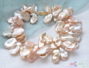 【送料無料】ブレスレット アクセサリ― ピンクラミナパールブレスレットp3773 2row 8 18mm pink lamina keshi reborn pearl bracelet