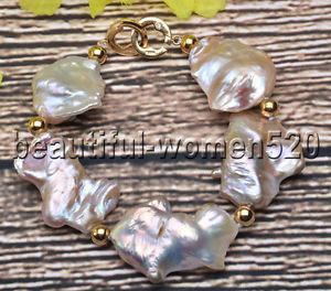 【送料無料】ブレスレット アクセサリ― ラベンダーピンクバロックパールブレスレットインチz7413 natural 8 30mm lavender amp; pink baroque keshi reborn pearl bracelet 8inch