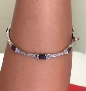 【送料無料】ブレスレット アクセサリ― スターリングシルバーリンクブレスレットリンクリンクチェーンred rectangular sterling silver link bracelet link red link chain