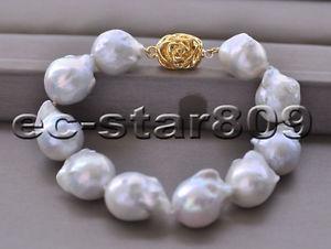【送料無料】ブレスレット アクセサリ― ホワイトバロックパールブレスレットp6603 8 24mm white baroque keshi reborn pearl bracelet