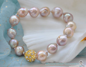 【送料無料】ブレスレット アクセサリ― ラベンダーラウンドパールブレスレットbw1406 8 13mm lavender almost round keshi reborn pearl bracelet