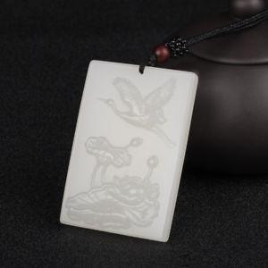 【送料無料】ブレスレット アクセサリ― ホワイトジェイドロータスクレーンchinese natural white jade handcarved lotus and redcrowned cranes pendant