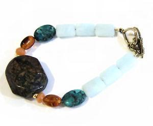 【送料無料】ブレスレット アクセサリ― オパールブレスレットターコイズオレンジブロンズビーズbarse opal bracelet, turquoise, amber bronze beaded 7 12