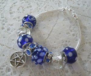 【送料無料】ブレスレット アクセサリ― ブレスレットblue pentacle bracelet, wiccan pagan wicca witch witchcraft pentagram goddess