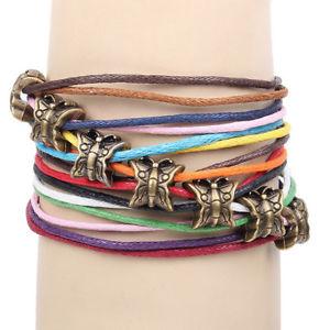 【送料無料】ブレスレット アクセサリ― キャンディカラービーズブレスレット20xmultilayer woven friendship candy colors butterfly beaded bracelet includi