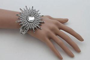 【送料無料】ブレスレット アクセサリ― サンフラワーファッションカフブレスレットジュエリービーズwomen silver metal sun rhinestones flower fashion cuff bracelet jewelry beads