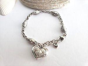 【送料無料】ブレスレット アクセサリ― リンクブレスレットbrightonbrighton flower crystal heart charm dangling links silver bracelet
