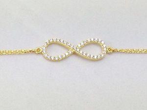 【送料無料】ブレスレット アクセサリ― ブレスレットスターリングシルバークリスタルファッションジュエリーgold plated infinity symbol bracelet sterling silver crystal fashion jewelry