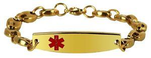 【送料無料】ブレスレット アクセサリ― インチゴールドステンレススチールブレスレット7 85 inch gold finish stainless steel engravable medical alert id bracelet