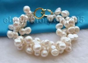 【送料無料】ブレスレット アクセサリ― ダブルパールブレスレット8 double genuine natural 10x17mm white twins pearl bracelet 14k f1673