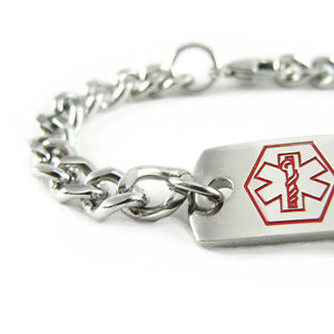 【送料無料】ブレスレット アクセサリ― ナットブレスレットチェーンmyiddr pre engraved nut allergy medical alert id bracelet, curb chain