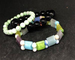 【送料無料】ブレスレット アクセサリ― 3 jb268listingvintageアジアガラスブレスレットロット listingvintage chinese asian glass bead stretchy bracelet peking lot of 3 jb268