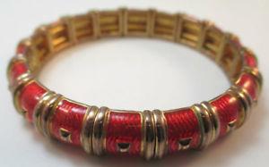 【送料無料】ブレスレット アクセサリ― ジョンリヴァースヴィンテージゴールドエナメルブレスレット*joan rivers vintage gold tone red enamel bracelet*