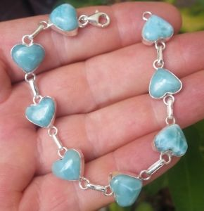 【送料無料】ブレスレット アクセサリ― larimar925スターリングbracelet ha26blue heart larimar stones 925 sterling silver bracelet ha26
