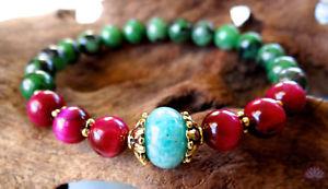 【送料無料】ブレスレット アクセサリ― アマゾナイトルビーゾイサイトwバラgenuine amazonite and ruby zoisite bracelet w rose tiger eye prosperity