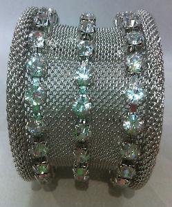 【送料無料】ブレスレット アクセサリ― ラインストーンシルバーカフブレスレット rhinestone and silver metal cuff bracelet