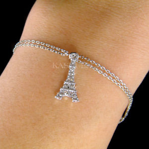 【送料無料】ブレスレット アクセサリ― エッフェルスワロフスキークリスタルパリチェーンブレスレットeiffel tower made with swarovski crystal paris france souvenir 2 chain bracelet