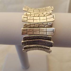 【送料無料】ブレスレット アクセサリ― ピュータークロコダイルストレッチブレスレットhandmade silver plated pewter stretch crocodile bracelet