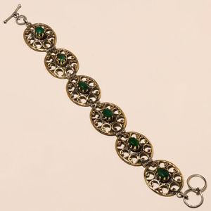 【送料無料】ブレスレット アクセサリ― トーンエメラルドアンティークビンテージファッションジュエリーブレスレットハンドメイドtwo tone natural emerald antique vintage fashion jewelry bracelet handmade