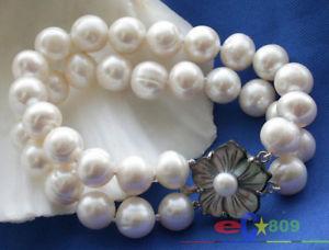 【送料無料】ブレスレット アクセサリ― ホワイトラウンドブレスレットp2025 2row 12mm white round freshwater cultured pearl bracelet