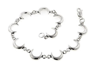 【送料無料】ブレスレット アクセサリ― スターリングシルバーリンクブレスレットsterling silver celestial crescent moon 7 link bracelet