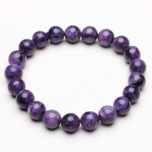 【送料無料】ブレスレット アクセサリ― クリスタルビーズブレスレットストレッチ93mm natural purple charoite crystal gemstone stretch beads bracelet zlbb035