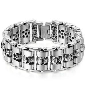 【送料無料】ブレスレット アクセサリ― ヘビーチェーンスカルバイカーオートバイリンクシルバーステンレススチールブレスレットmen heavy chain skull biker motorcycle link silver tone stainless steel bracelet