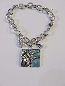 【送料無料】ブレスレット アクセサリ― リバティブレスレットリバティkirks folly silver liberty freedom statue of liberty charm bracelet nwt