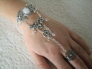 【送料無料】ブレスレット アクセサリ― ペンタクルスレーブブレスレットwiccanwiccamoonstone pentacle slave bracelet wiccan pagan wicca witch witchcraft hand chain