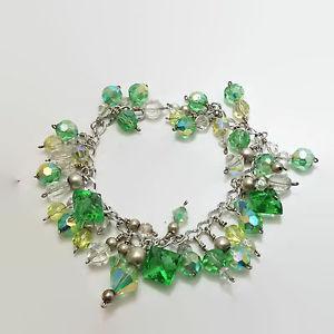 【送料無料】ブレスレット アクセサリ― シルバートーンワイヤラップグリーンクリアクリスタルガラスビーズブレスレットsilver tone wire wrapped green amp; clear crystal glass bead bracelet