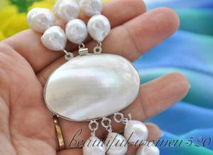 【送料無料】ブレスレット アクセサリ― 13mmz6682 3strandskeshiエジソン8z6682 3strands 13mm white almost round keshi reborn edison pearl bracelet 8inch