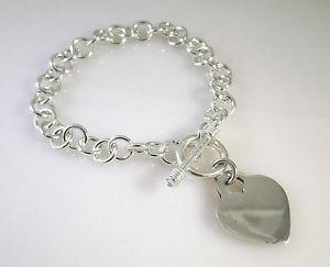 【送料無料】ブレスレット アクセサリ― スターリングシルバートグルブレスレットハート925 sterling silver toggle bracelet engravable dangle heart 925 charm tf01