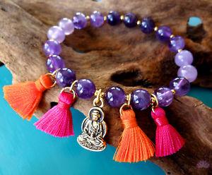 【送料無料】ブレスレット アクセサリ― カラフルアメジストブレスレットgold buddha and amethyst bracelet with colorful tassels wisdom protection