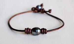 【送料無料】ブレスレット アクセサリ― タヒチアンパールブレスレットロングハンドメイドgenuine tahitian pearl leather anklet ankle bracelet 9 long handmade by yevga